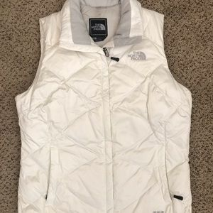 White north face puffy vest